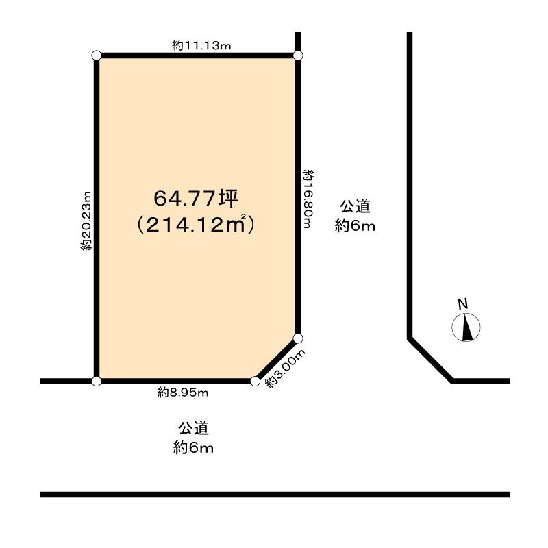 区画整理地内の角地の画像